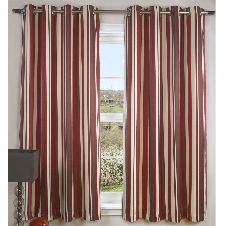 Astounding Striped Curtains With Long Curtain And Nightlamps Also Single Sofa Combined With Fluufy Rug And Lowes Mini Table