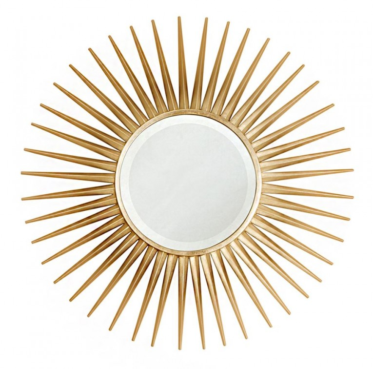 Astounding Sunburst Mirrors With Rustic Table And Night Lap Combined Plus Luxury Wall