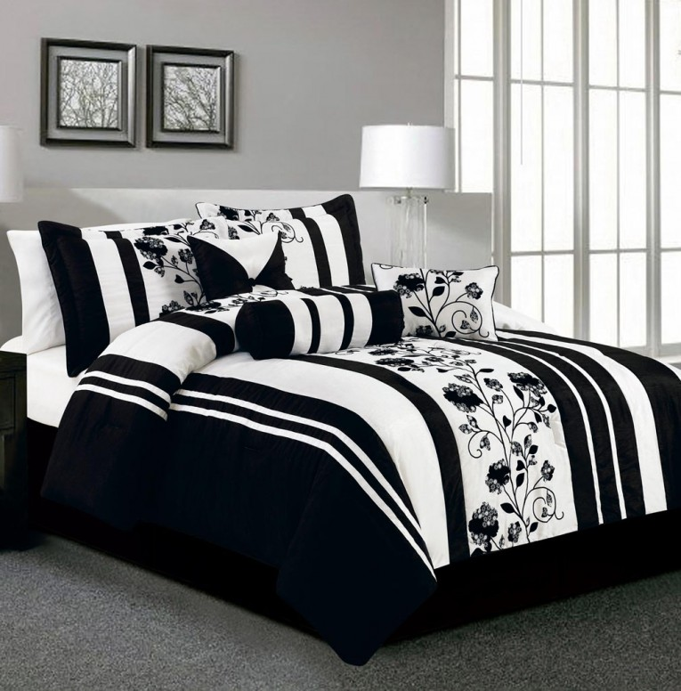 Attractive Bedroom With Black And White Comforter Sets And Laminate Porcelain Floor Also Curtain And Sidetables