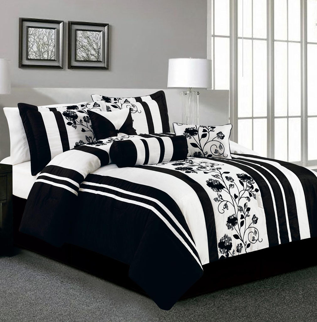 Bedroom: Interesting Color Of Black And White Comforter Sets For ...