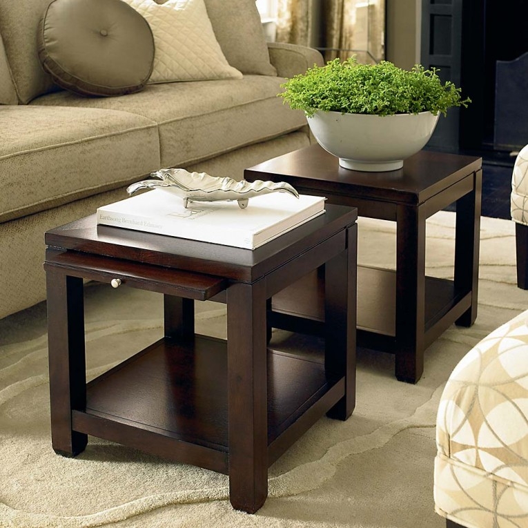 Attractive Bunching Tables With Wooden Source And Rug Also Soft Sofas And With Living Room Set Furnitures
