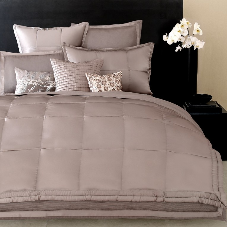 Attractive Donna Karan Bedding With Cushion And Pillows Also Beautiful Duvet Cover And Sidetable And Luxury Wall Paint Color
