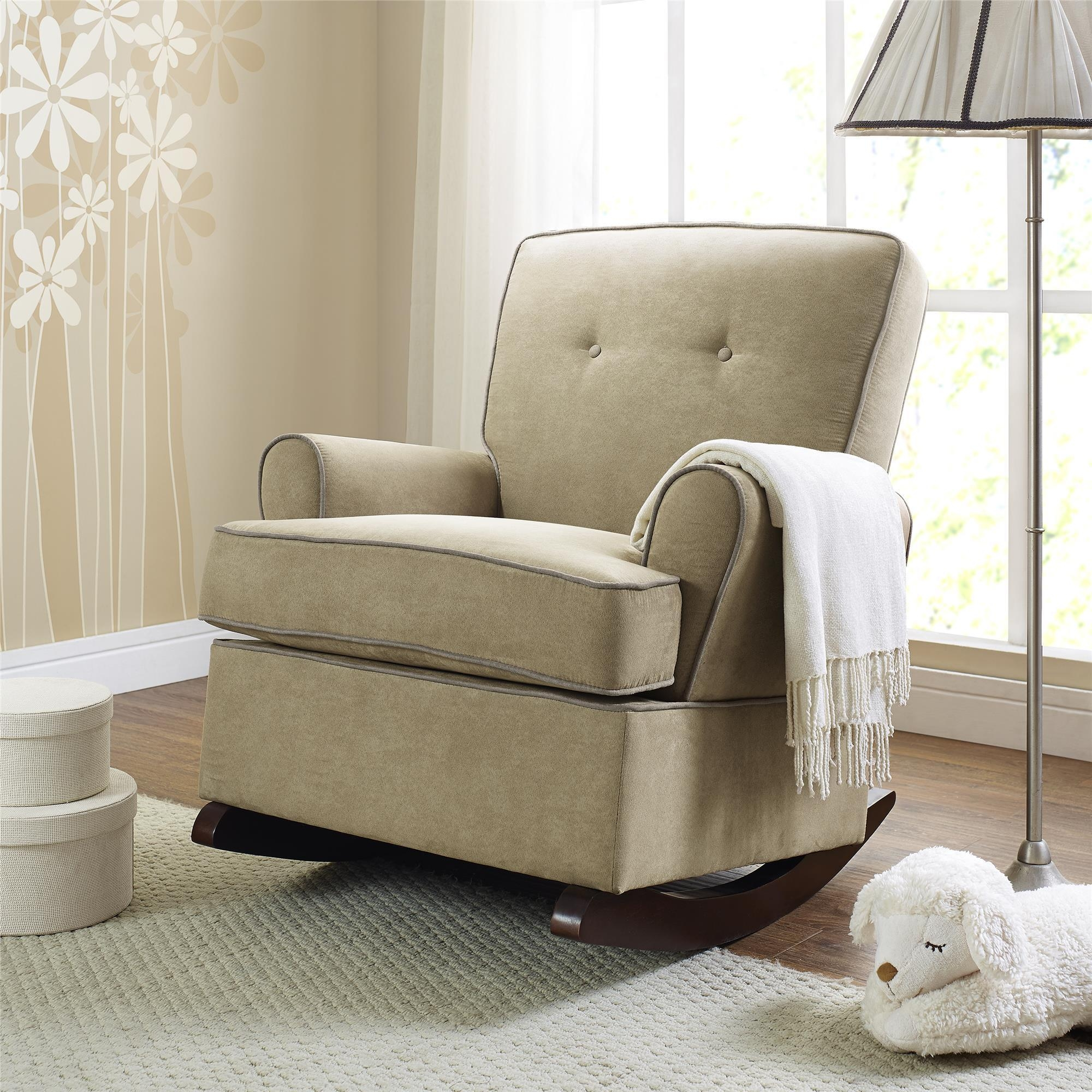 Attractive fabric upholstered glider rocker with armchairs and wooden laminate floor for living room