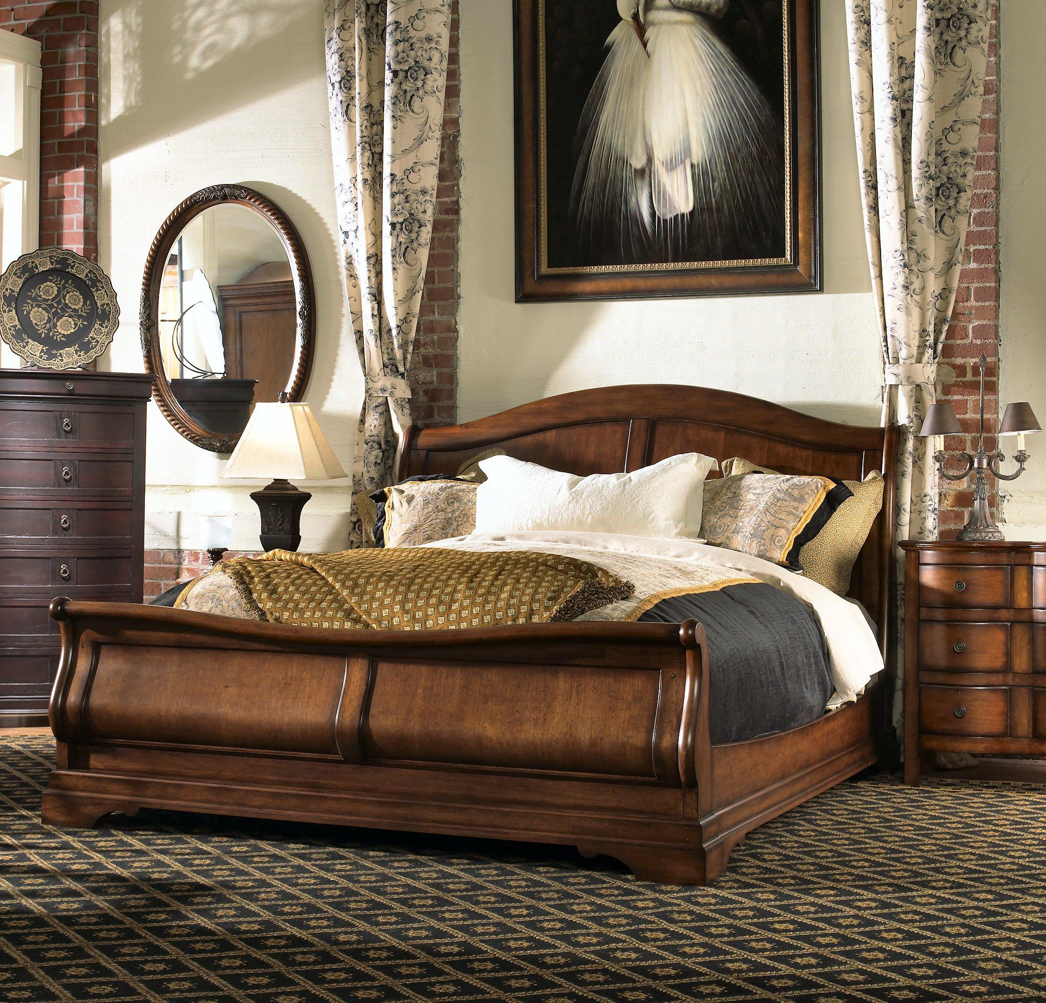 Attractive headboars king sleigh bed with royal duvet cover and luxury sheets also unique area rug above laminate flooring ideas