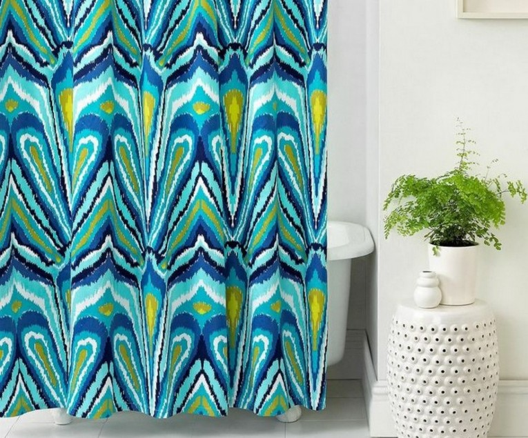 Attractive Peacock Shower Curtain Featuring Beautiful Color Peacock Shower Curtain And Sidetable With Rollers For Your Beautiful Modern Bathroom Shower Ideas