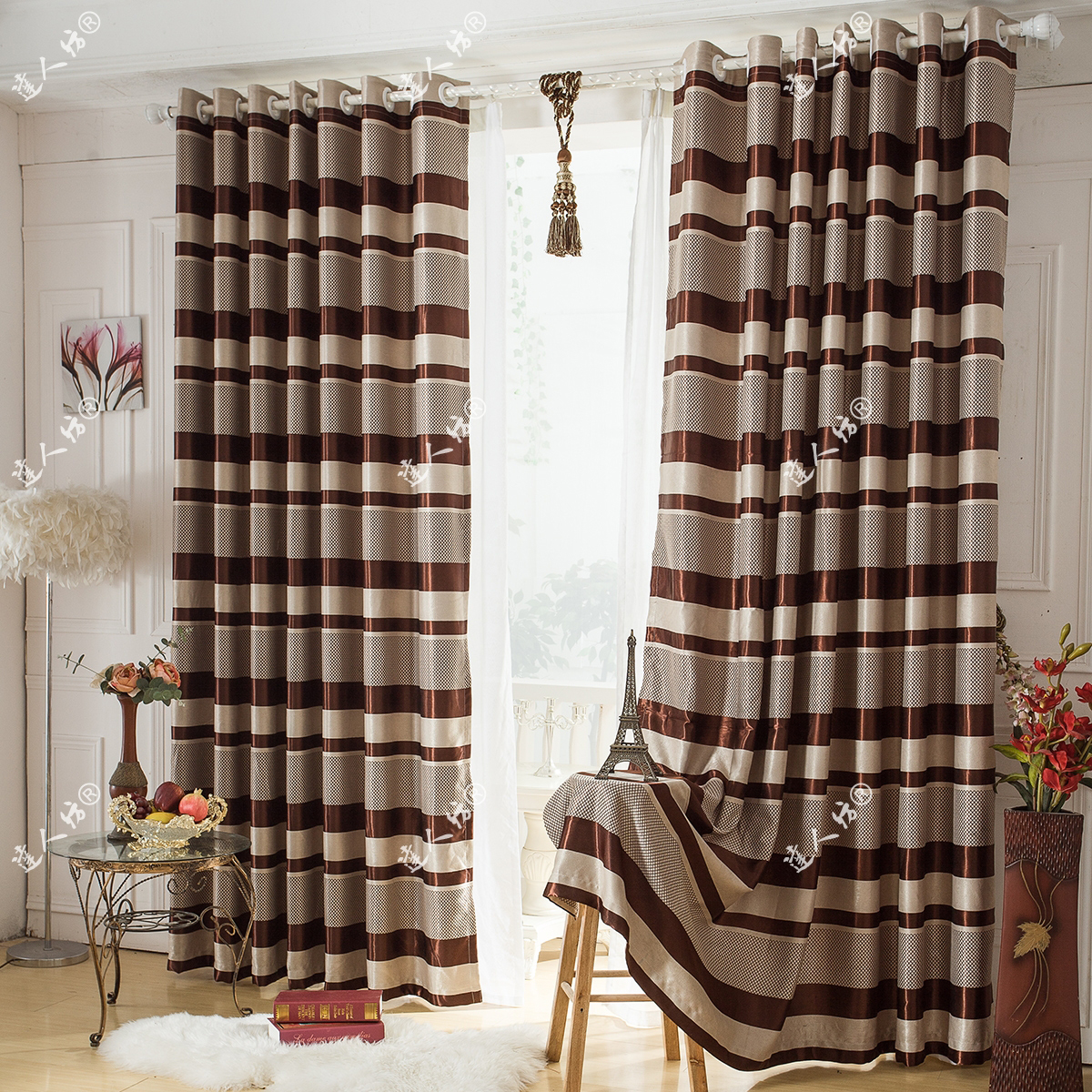 Attractive striped curtains with long curtain and nightlamps also single sofa combined with fluufy rug and lowes mini table