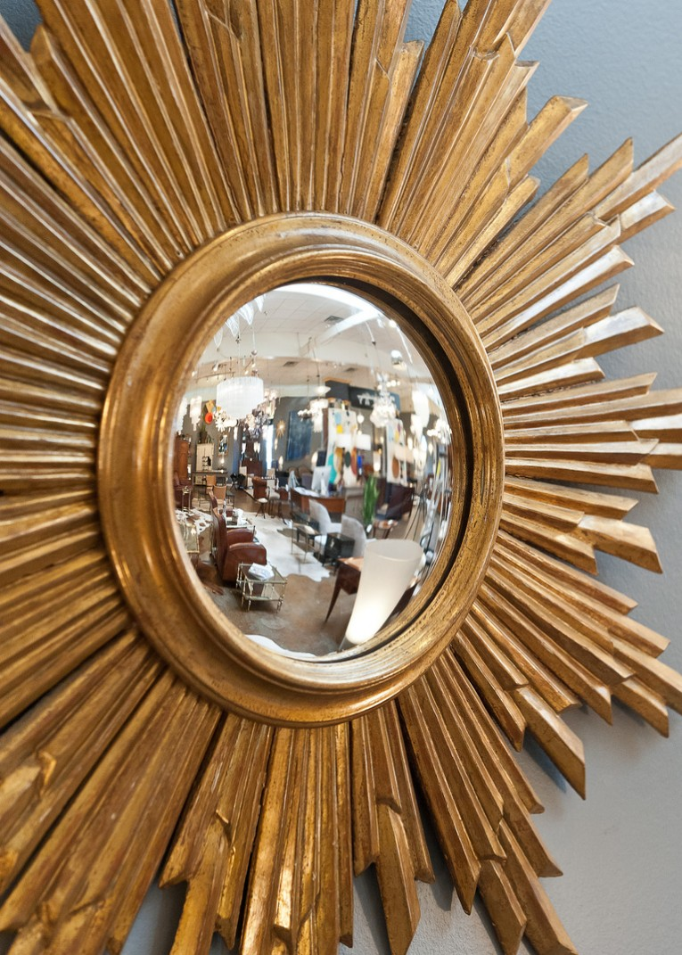Attractive Sunburst Mirrors With Rustic Table And Night Lap Combined Plus Luxury Wall