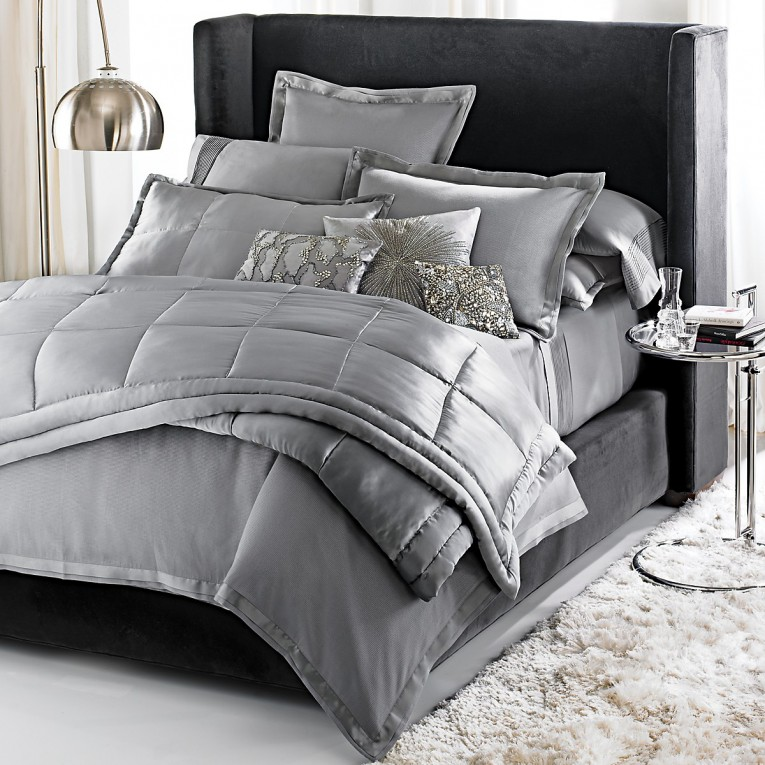 Awesome Donna Karan Bedding With Cushion And Pillows Also Beautiful Duvet Cover And Sidetable And Luxury Wall Paint Color