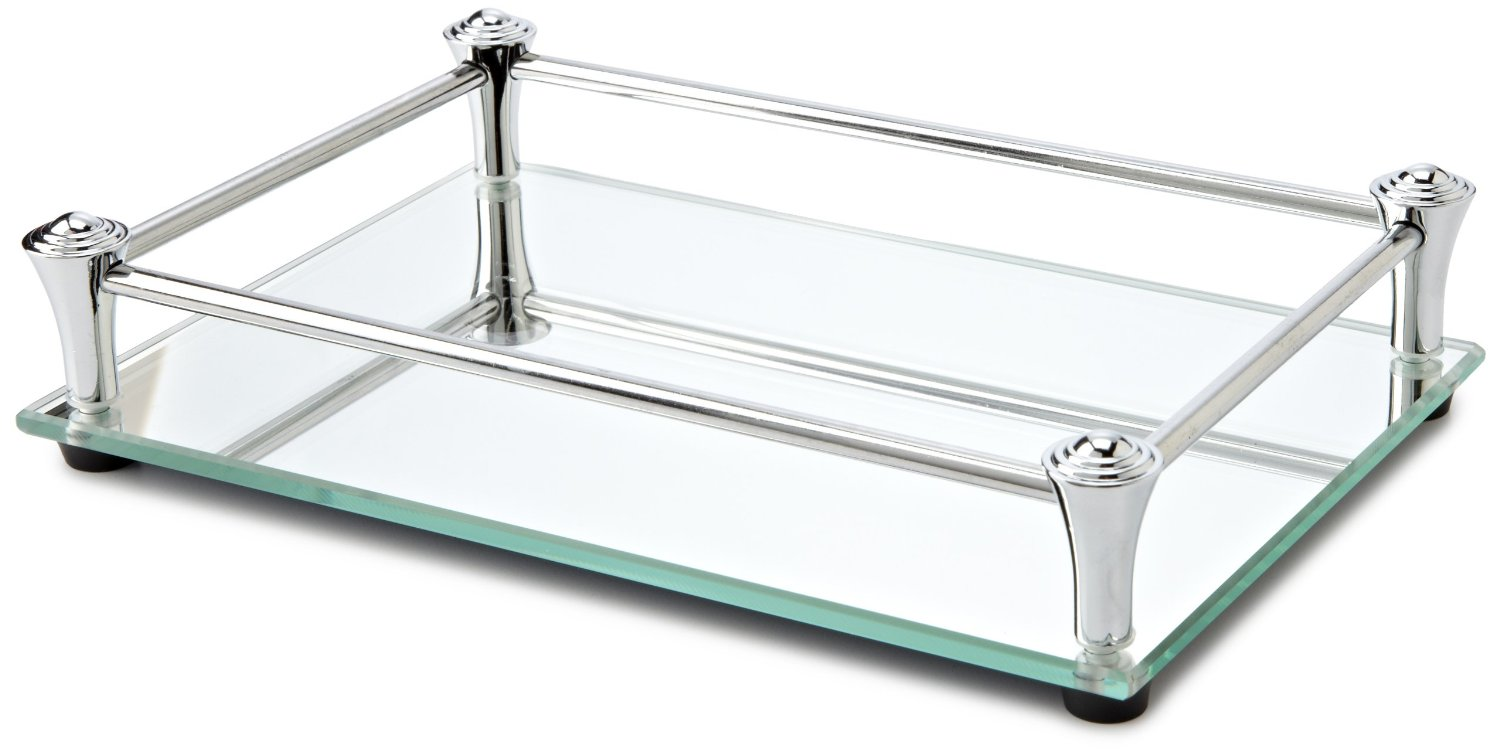 Awesome mirrored vanity tray glass serving dresser