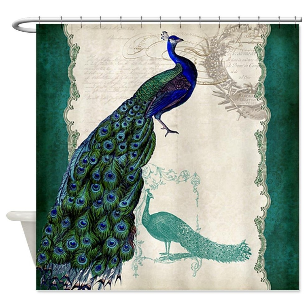 Awesome peacock shower curtain featuring beautiful color peacock shower curtain and sidetable with rollers for your beautiful modern bathroom shower ideas