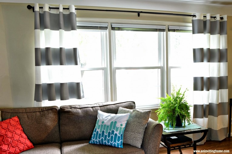 Awesome Striped Curtains With Long Curtain And Nightlamps Also Single Sofa Combined With Fluufy Rug And Lowes Mini Table