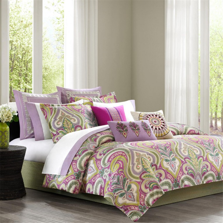 Beautiful Comrforter Set Light Of Paisley Comforter With Pillows And Unique Sidetable And Nightlamps