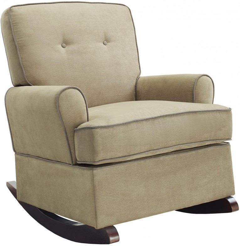 Beautiful Fabric Upholstered Glider Rocker With Armchairs And Wooden Laminate Floor For Living Room