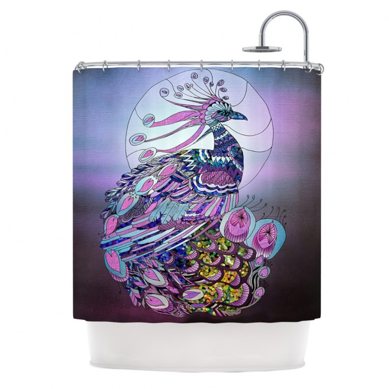 Beautiful Peacock Shower Curtain Featuring Beautiful Color Peacock Shower Curtain And Sidetable With Rollers For Your Beautiful Modern Bathroom Shower Ideas