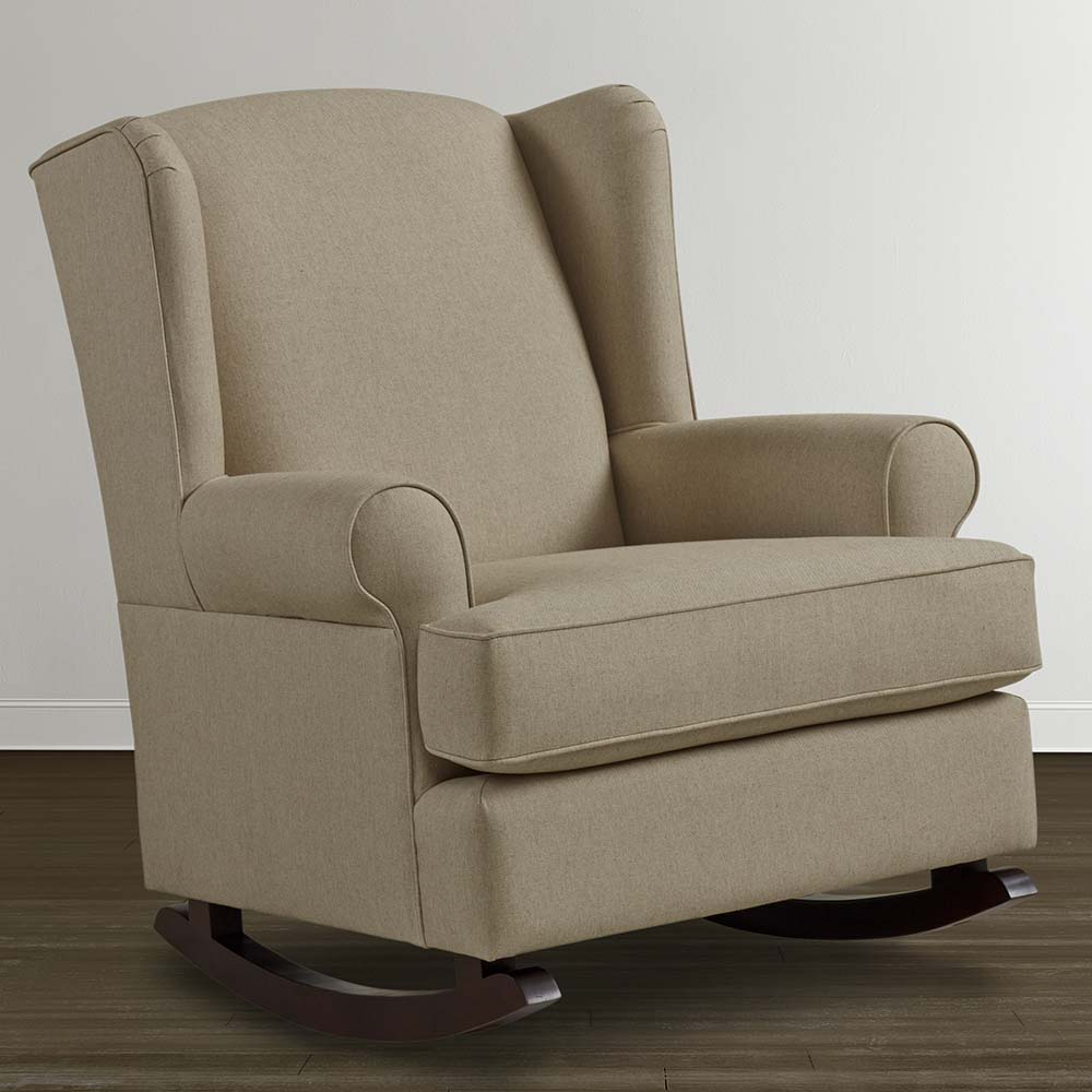 Best fabric upholstered glider rocker with armchairs and wooden laminate floor for living room