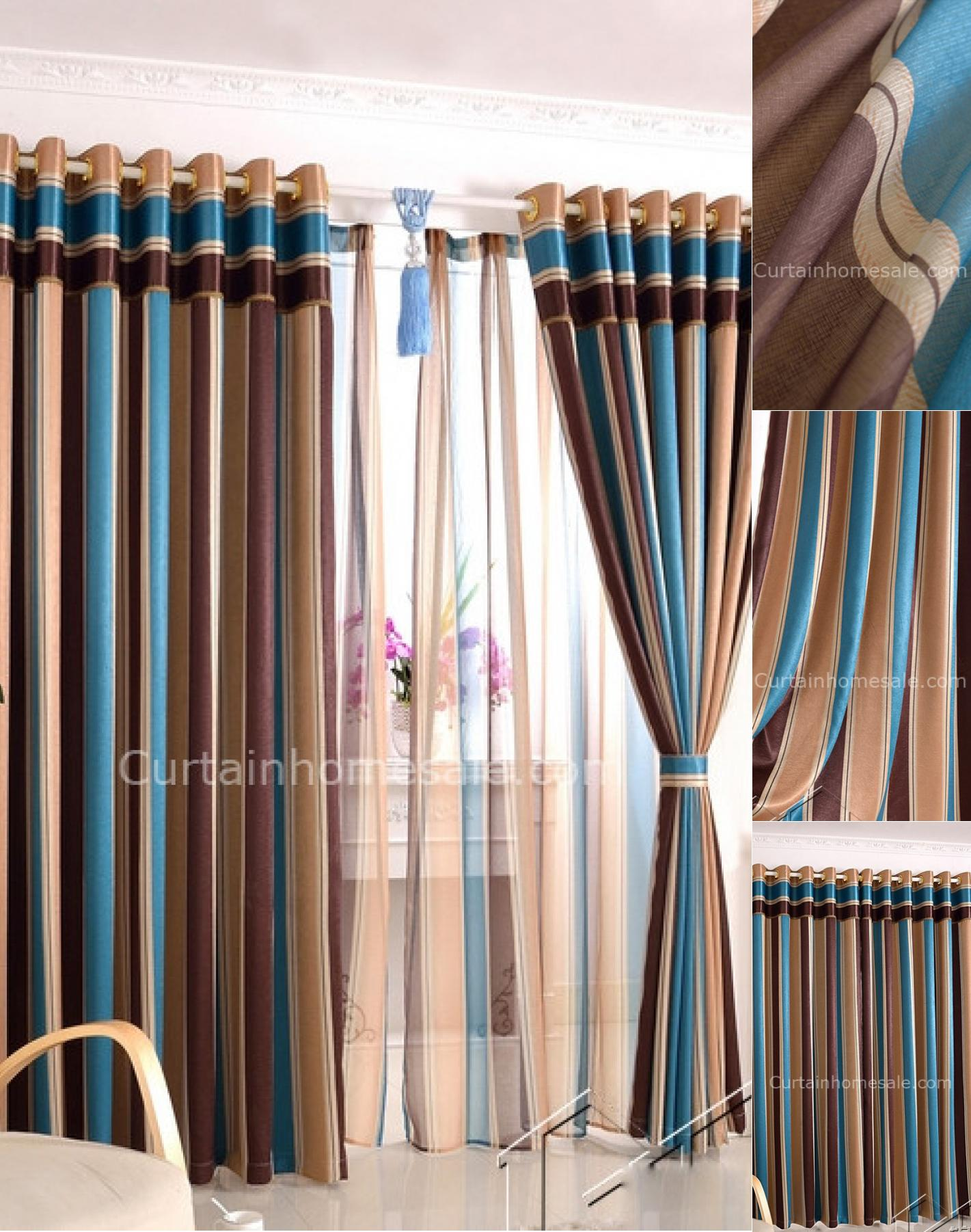 Best striped curtains with long curtain and nightlamps also single sofa combined with fluufy rug and lowes mini table
