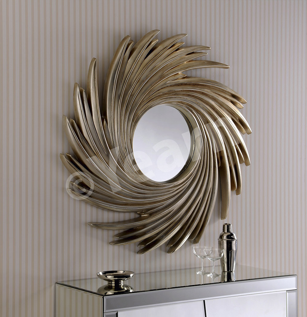Best sunburst mirrors with rustic table and night lap combined plus luxury wall