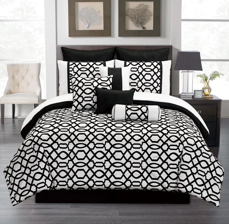 Breathtaking Bedroom With Black And White Comforter Sets And Laminate Porcelain Floor Also Curtain And Sidetables