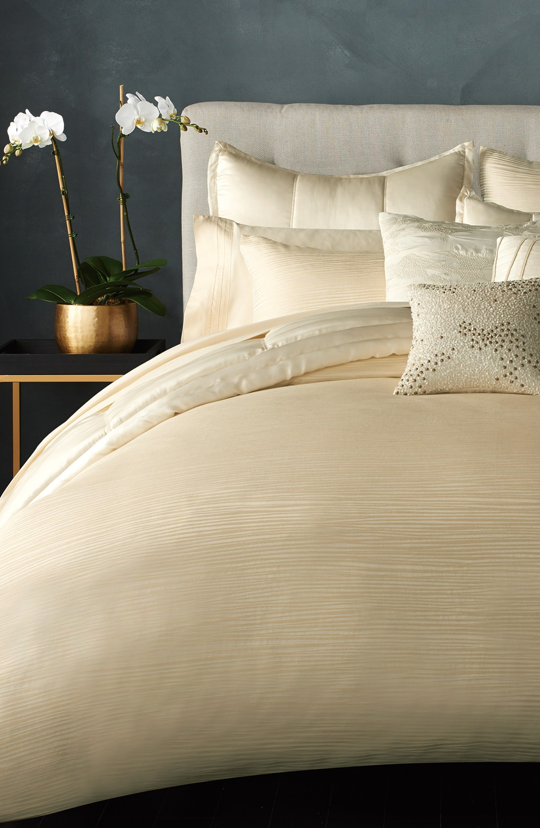 Breathtaking donna karan bedding with Cushion and pillows also beautiful duvet cover and sidetable and luxury wall paint color