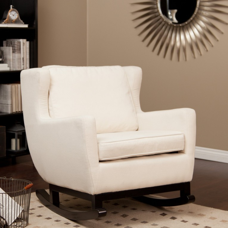 Breathtaking Fabric Upholstered Glider Rocker With Armchairs And Wooden Laminate Floor For Living Room