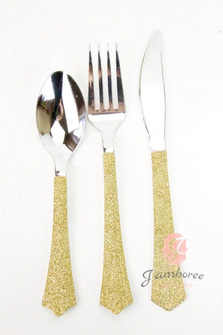 Breathtaking Gold Plastic Silverware With Glitters Gold Plastic Silverware For Serverware Ideas