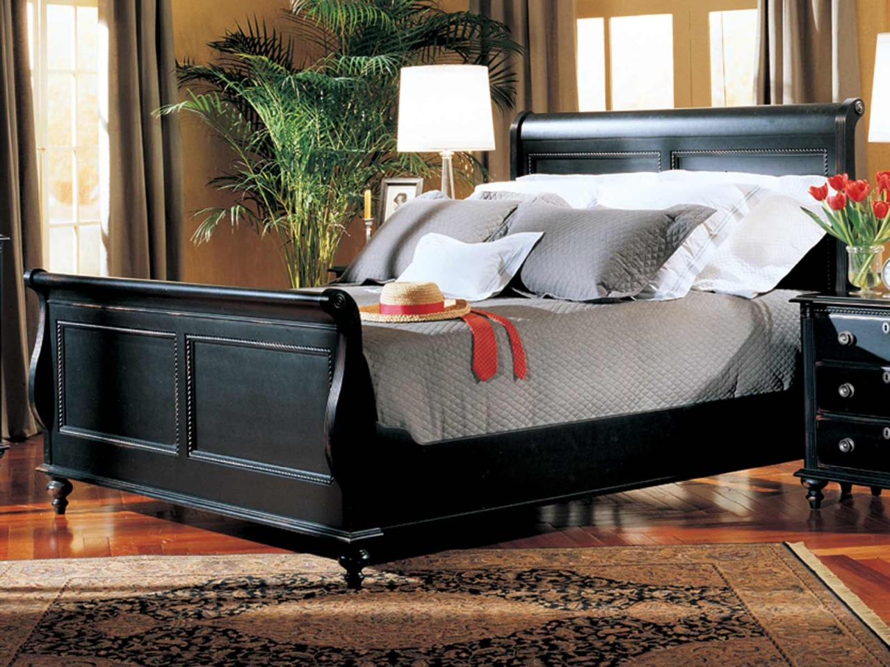 Breathtaking headboars king sleigh bed with royal duvet cover and luxury sheets also unique area rug above laminate flooring ideas