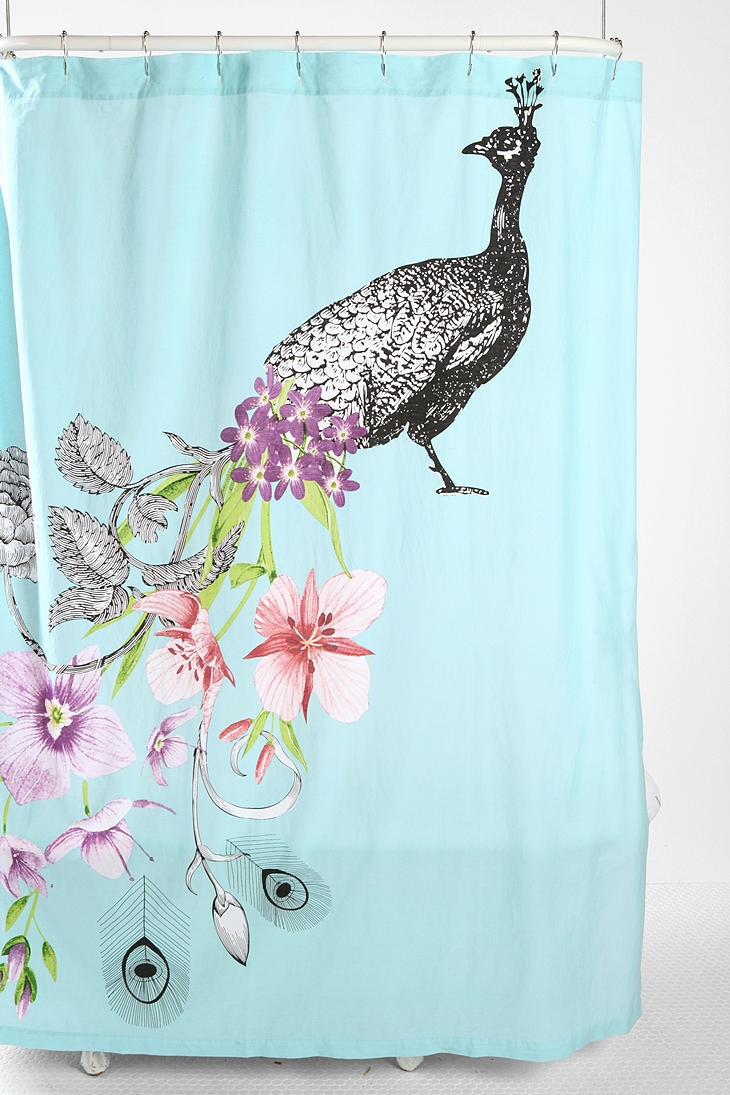 Breathtaking peacock shower curtain featuring beautiful color peacock shower curtain and sidetable with rollers for your beautiful modern bathroom shower ideas