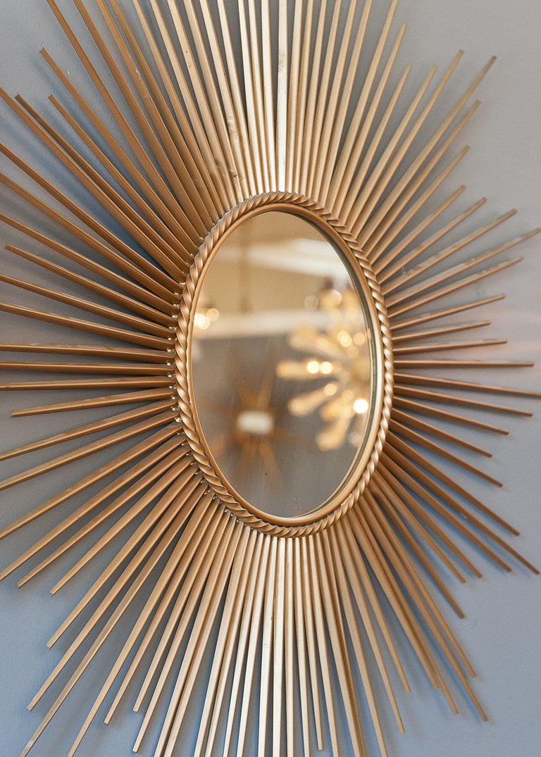 Mesmerizing Sunburst Mirrors at The Wall: Breathtaking Sunburst Mirrors With Rustic Table And Night Lap Combined Plus Luxury Wall
