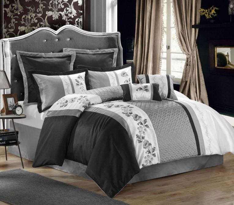 Brilliant Bedroom With Black And White Comforter Sets And Laminate Porcelain Floor Also Curtain And Sidetables