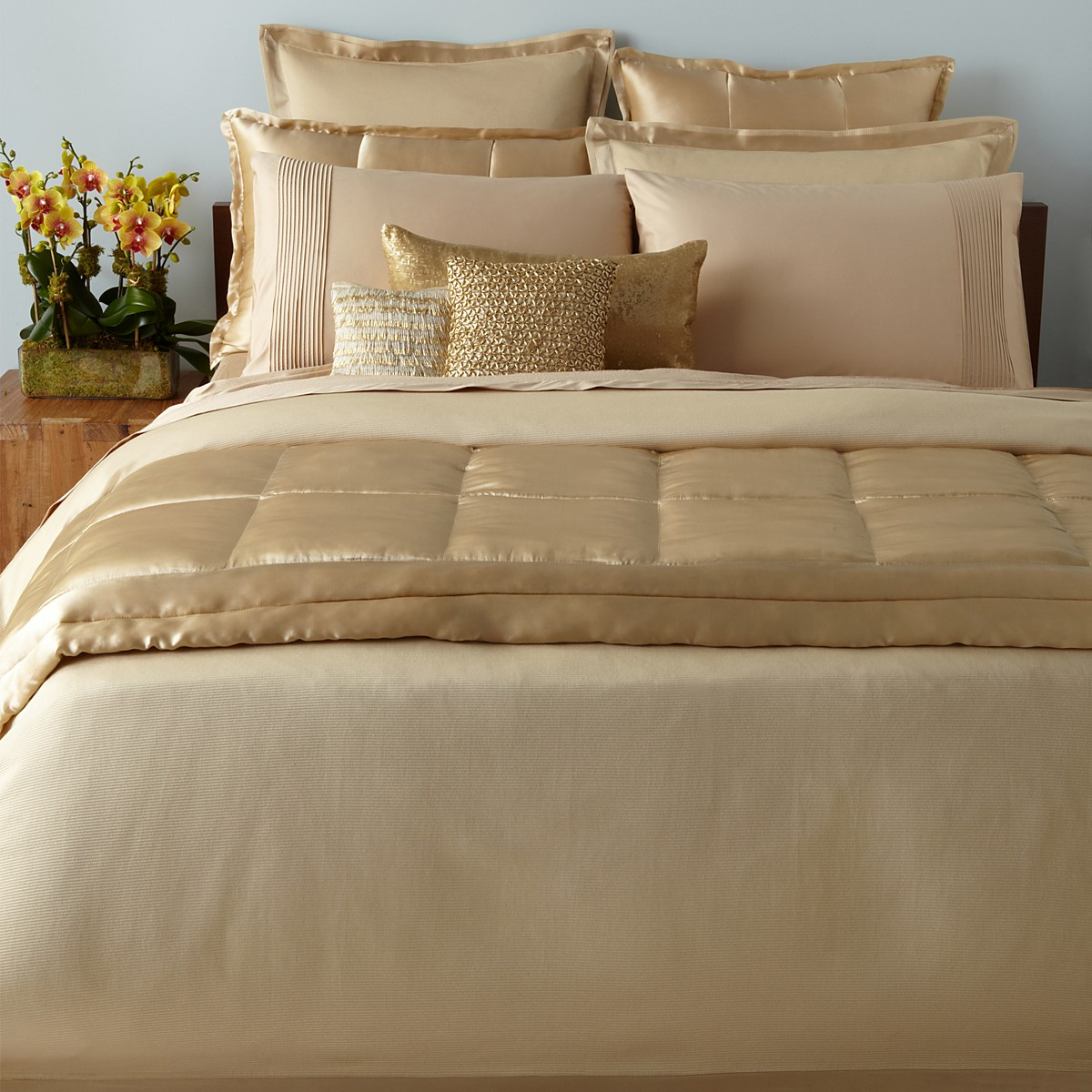 Brilliant donna karan bedding with Cushion and pillows also beautiful duvet cover and sidetable and luxury wall paint color