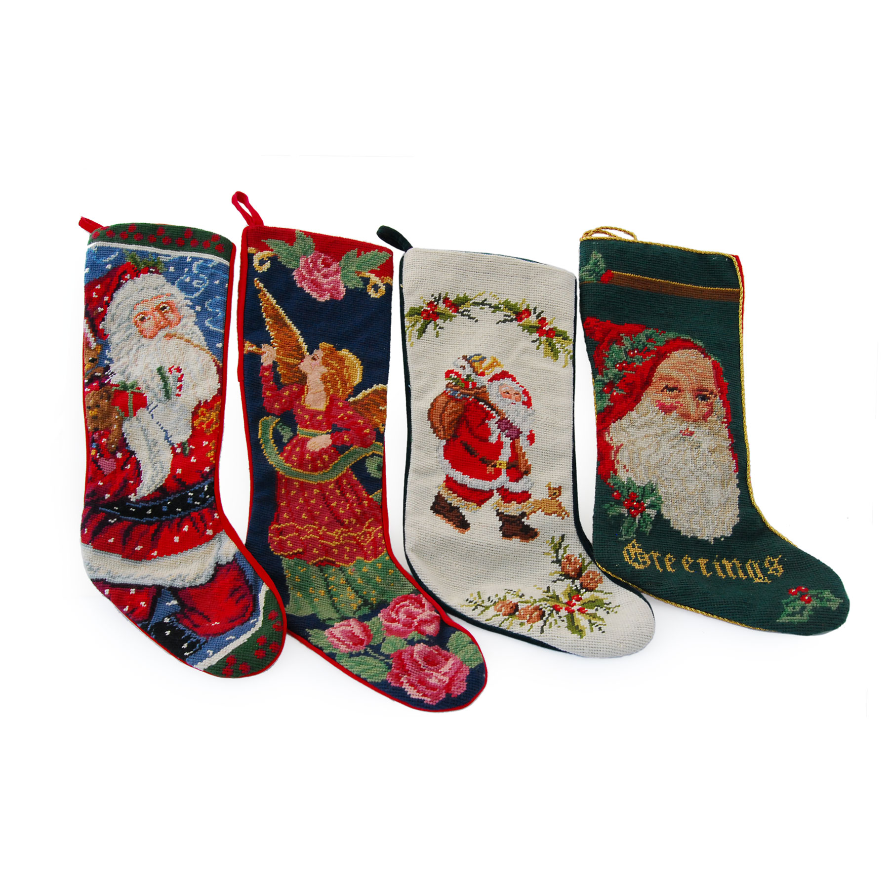 Alluring Needlepoint Stockings for Home Accecories Ideas: Brilliant Needlepoint Stockings And Fireplace With Mantle Shelves In The Christmas Day