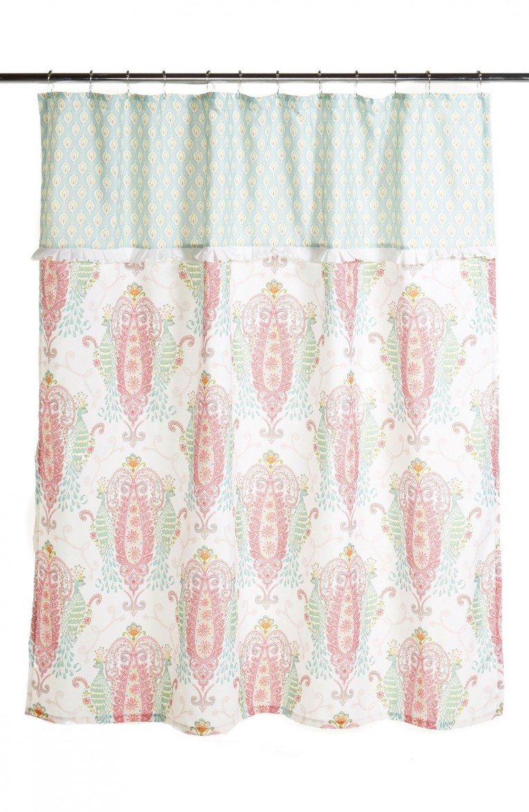 Brilliant Peacock Shower Curtain Featuring Beautiful Color Peacock Shower Curtain And Sidetable With Rollers For Your Beautiful Modern Bathroom Shower Ideas