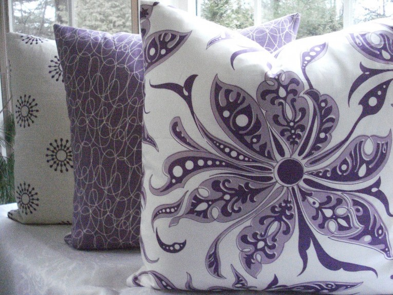 Brilliant Purple Throw Pillows With Lavender Pillow Colors And With Abstract Pattern Cushion For Sectional L Sofa Living Room Ideas