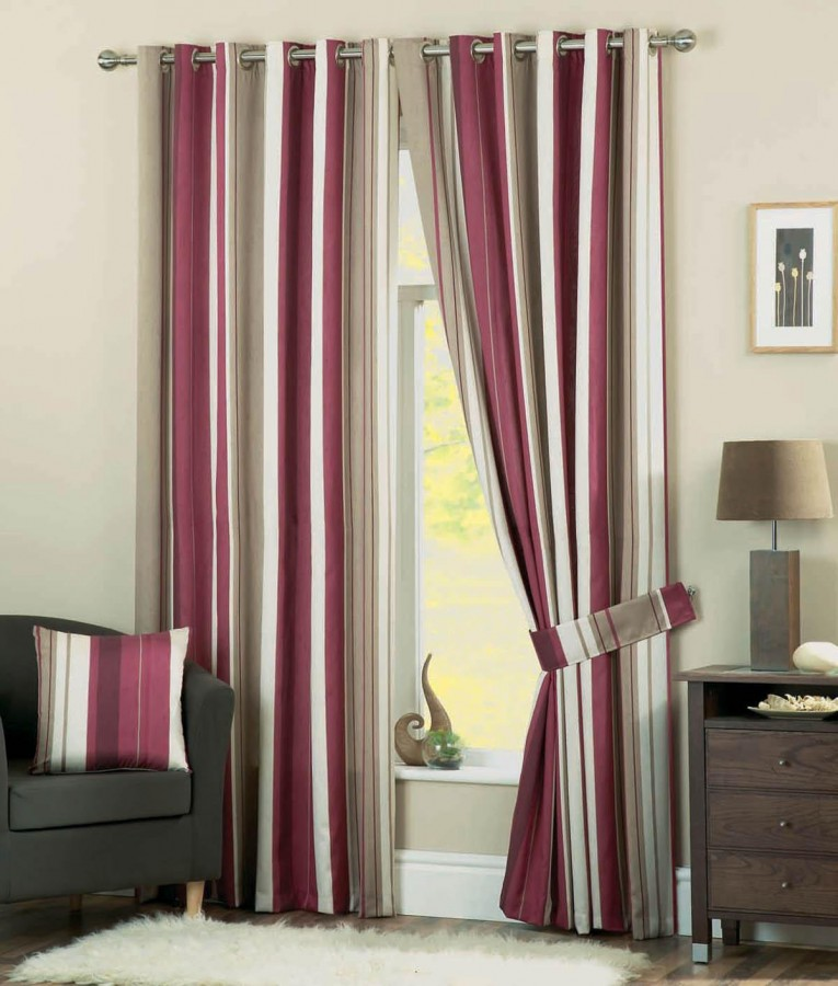 Brilliant Striped Curtains With Long Curtain And Nightlamps Also Single Sofa Combined With Fluufy Rug And Lowes Mini Table