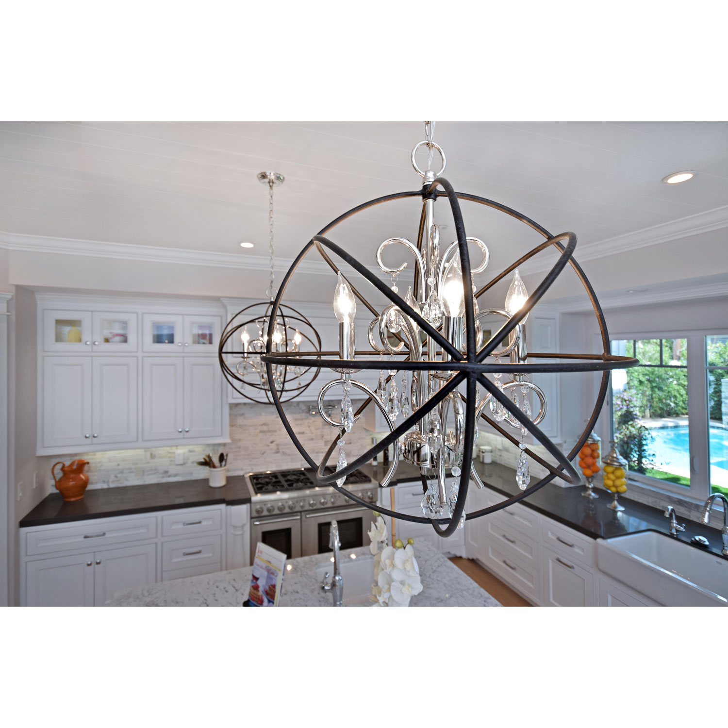 Brilliant unique design of orbit chandelier with iron or stainless for ceiling lighting decorating ideas