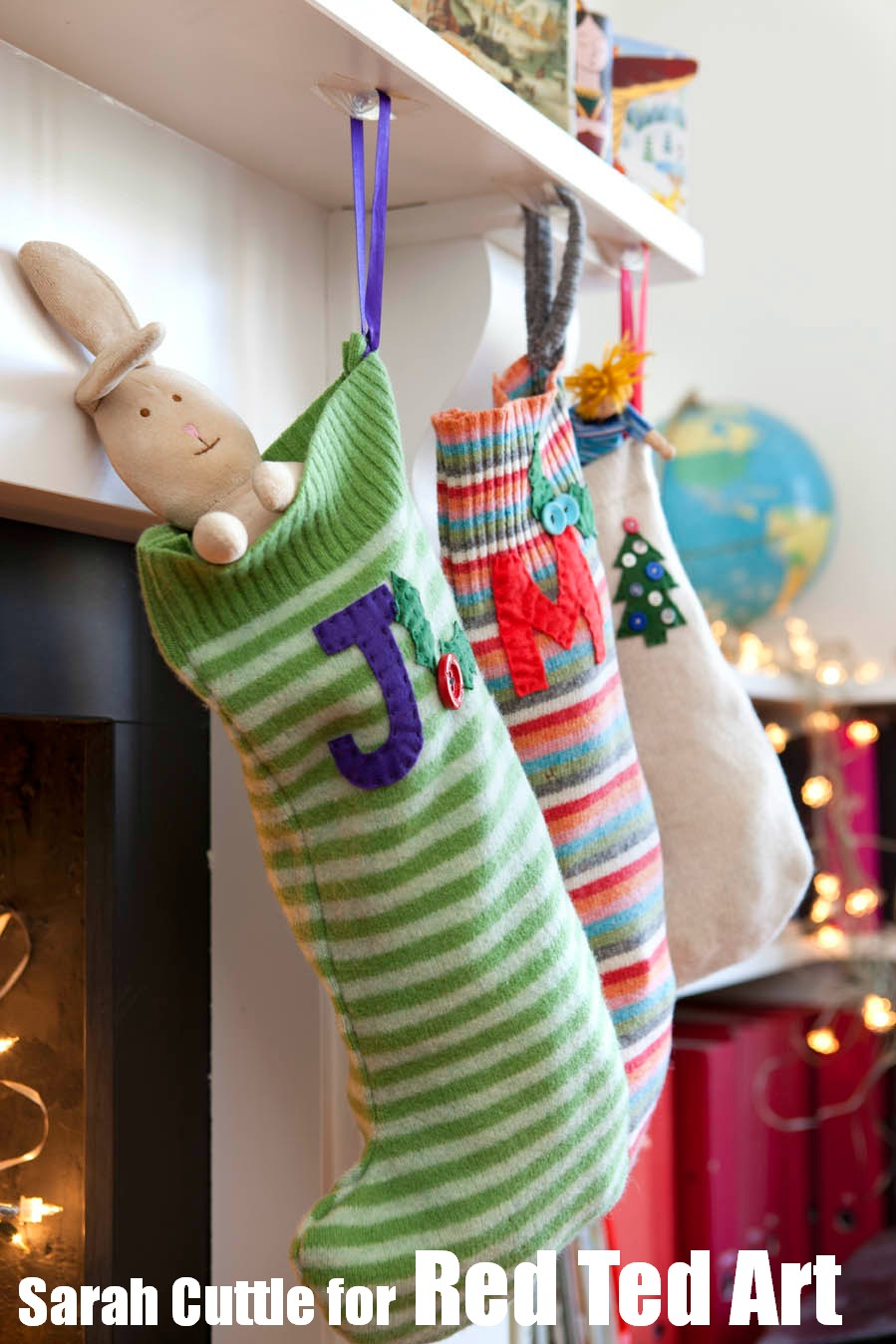 Captivating knit christmas stockings with multicolorful christmas stocking and fireplace at chistmas day interior design