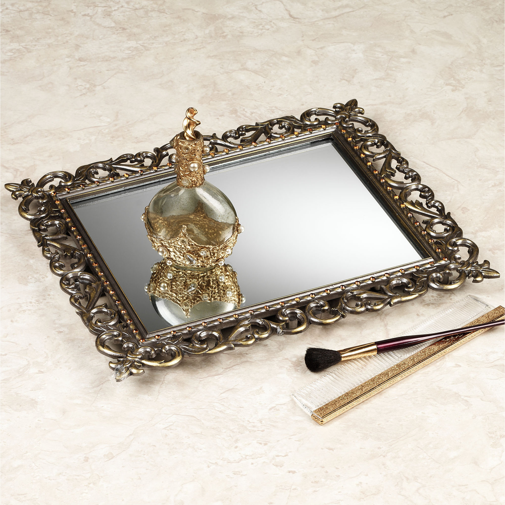 Captivating mirrored vanity tray