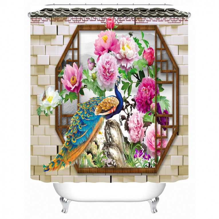 Captivating Peacock Shower Curtain Featuring Beautiful Color Peacock Shower Curtain And Sidetable With Rollers For Your Beautiful Modern Bathroom Shower Ideas
