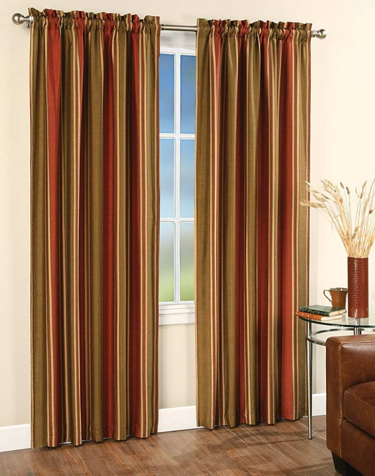 Captivating Striped Curtains With Long Curtain And Nightlamps Also Single Sofa Combined With Fluufy Rug And Lowes Mini Table