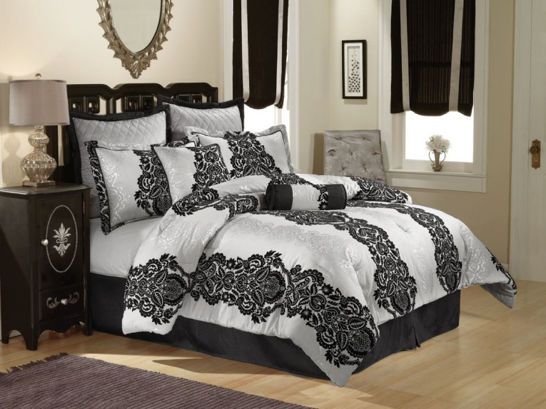 Charming Bedroom With Black And White Comforter Sets And Laminate Porcelain Floor Also Curtain And Sidetables