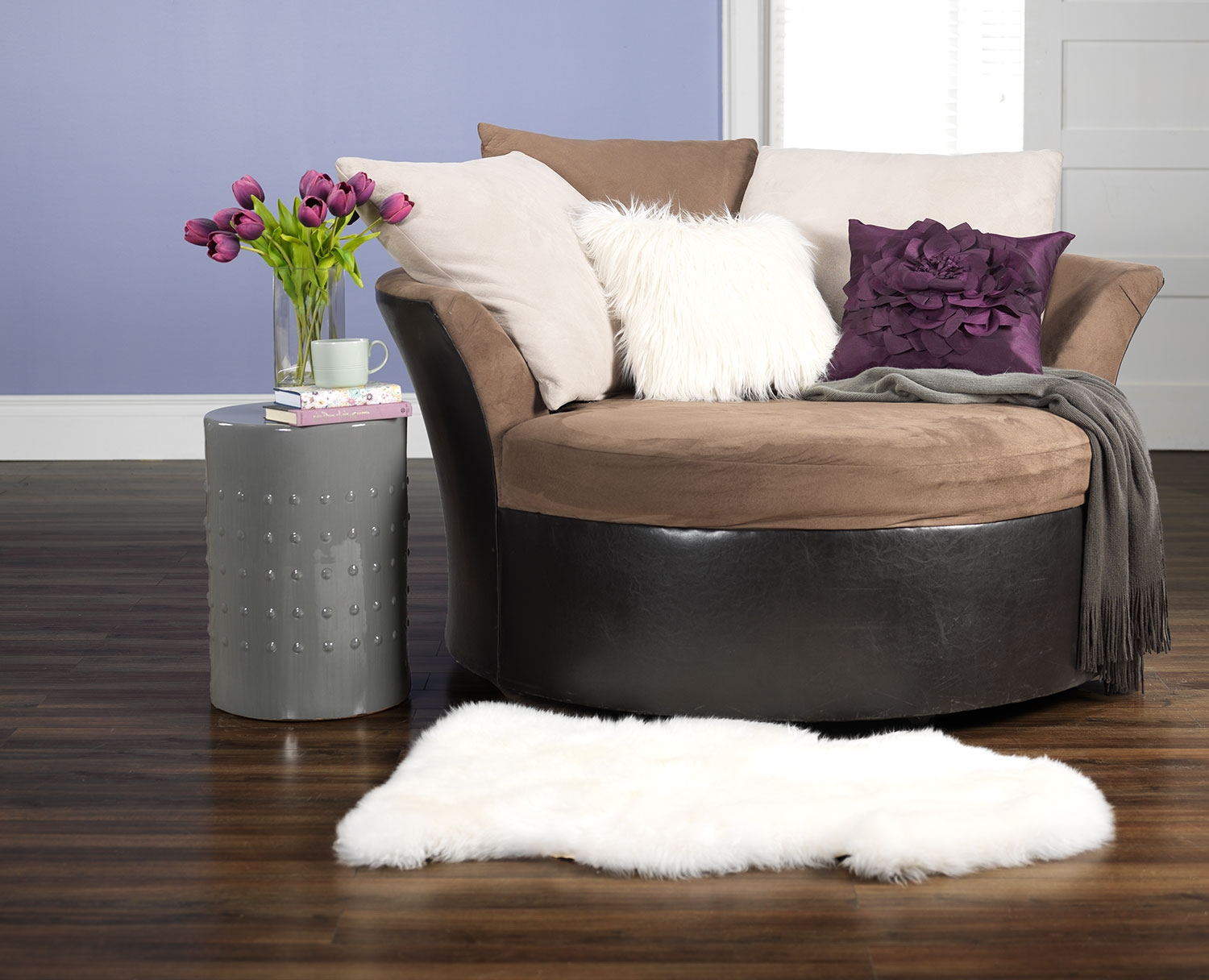 Charming Cannon Swivel cuddle chair with cushion and for your Beautiful Living Room Ideas