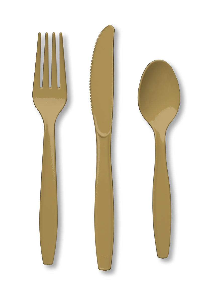 Charming design gold plastic silverware with glitters gold plastic silverware for serverware ideas