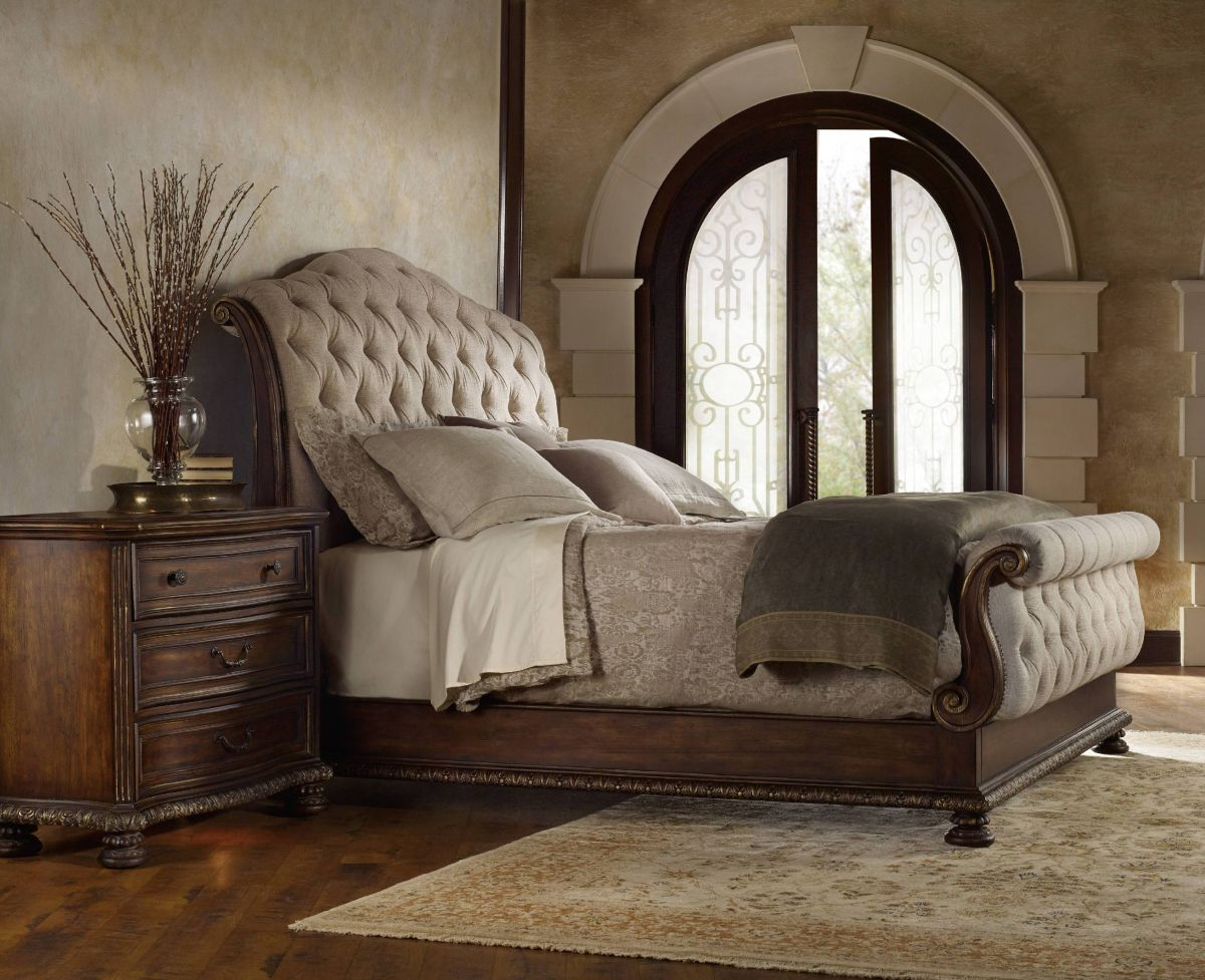 Charming headboars king sleigh bed with royal duvet cover and luxury sheets also unique area rug above laminate flooring ideas