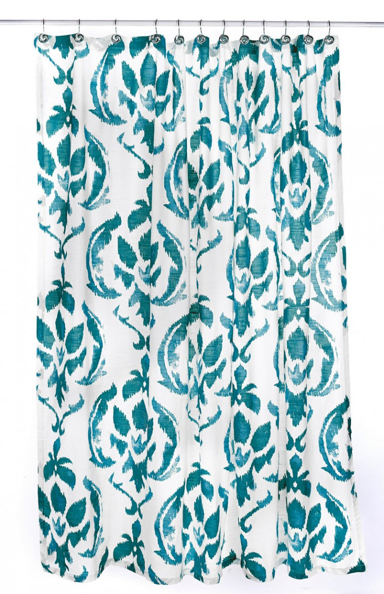 Charming Peacock Shower Curtain Featuring Beautiful Color Peacock Shower Curtain And Sidetable With Rollers For Your Beautiful Modern Bathroom Shower Ideas