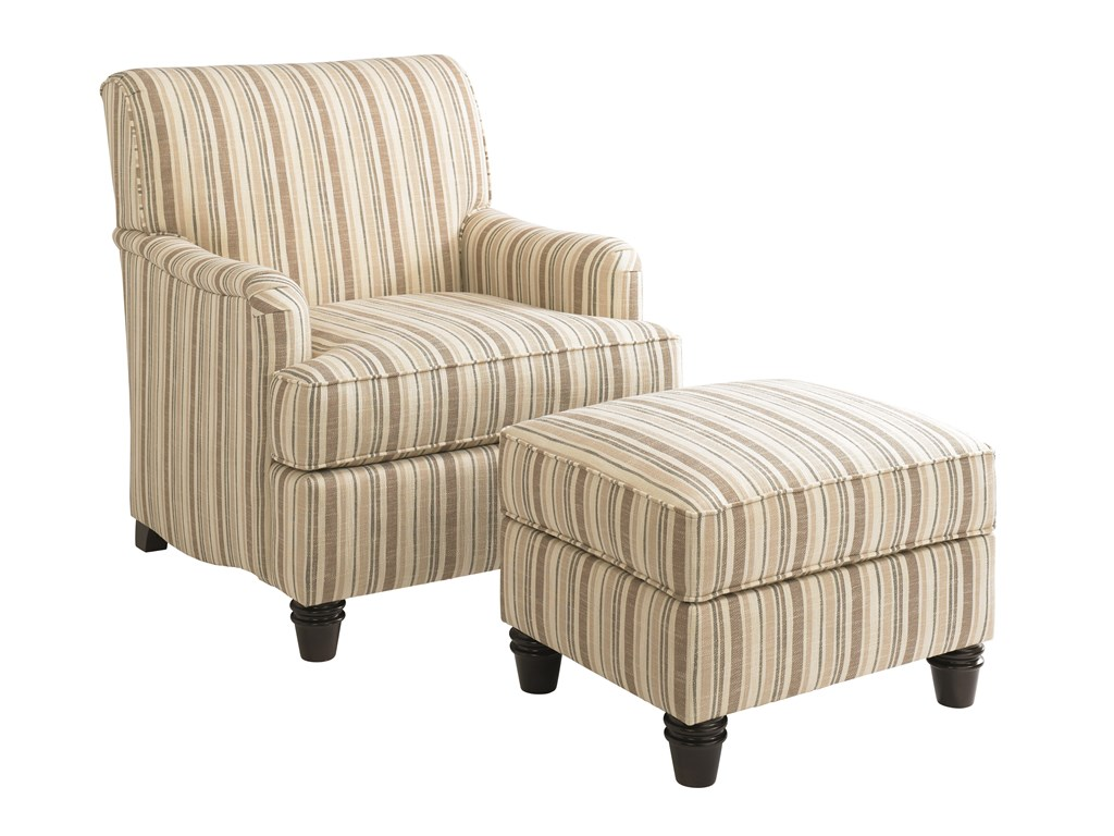 Charming white stripe tyndall furniture with chair and ottoman