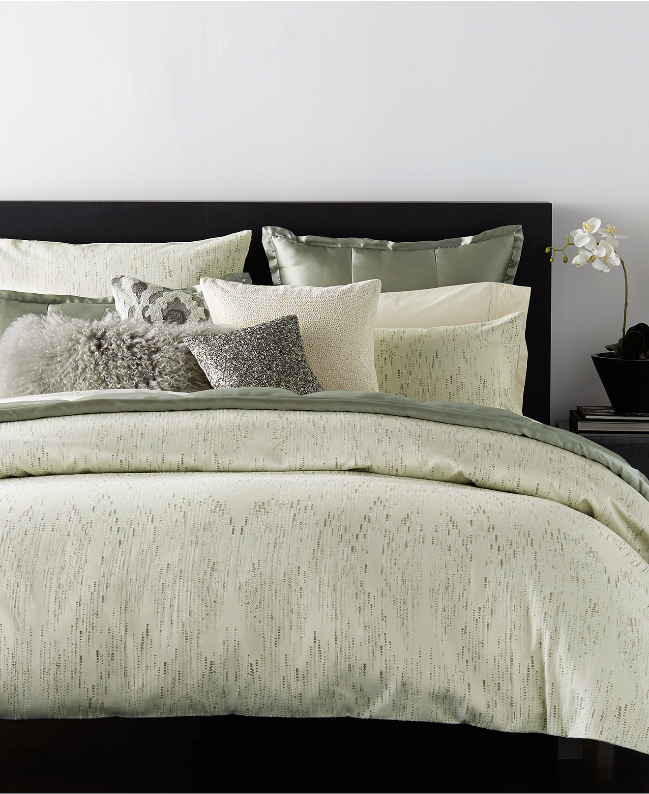 Chic donna karan bedding with Cushion and pillows also beautiful duvet cover and sidetable and luxury wall paint color