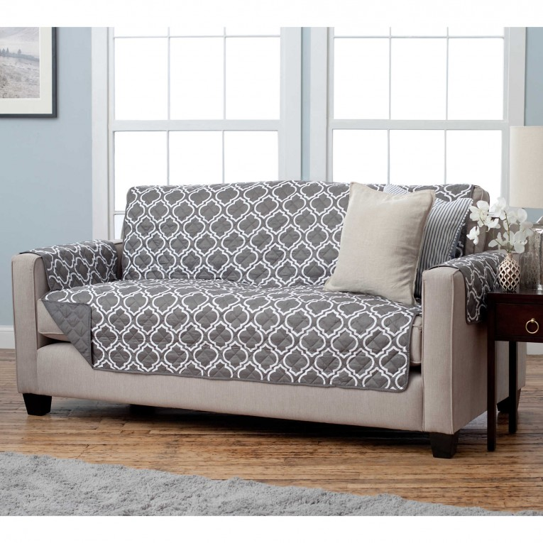 Chic Light Gray Waterproof Couch Cover With Laminate Flooring