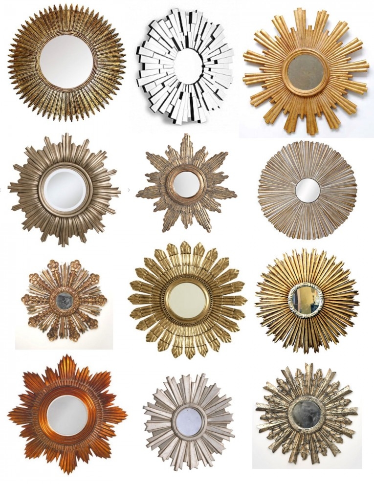 Chic Sunburst Mirrors With Rustic Table And Night Lap Combined Plus Luxury Wall
