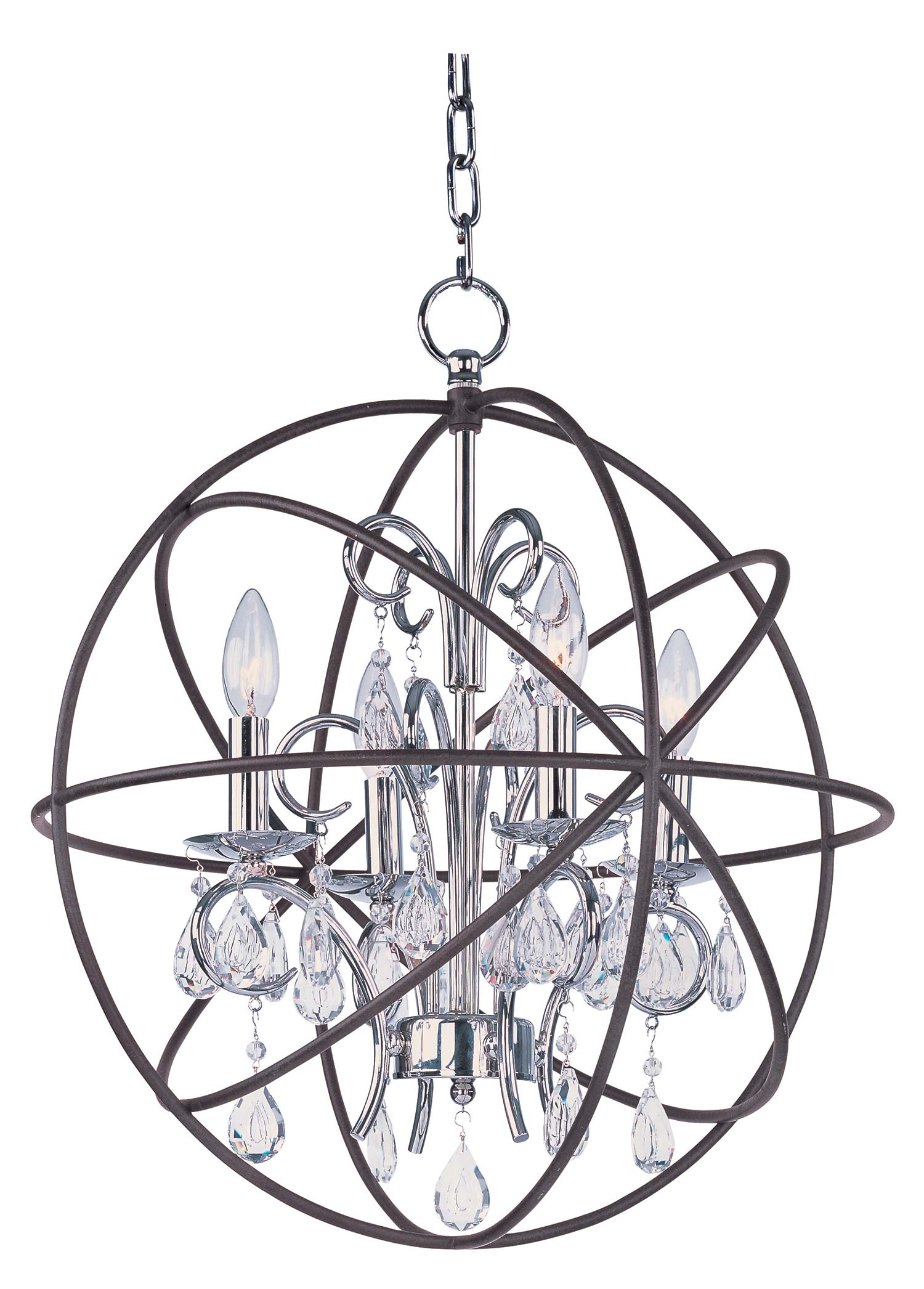 Chic unique design of orbit chandelier with iron or stainless for ceiling lighting decorating ideas