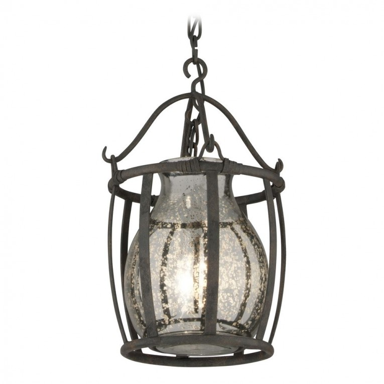 Classic Mercury Glass Pendant With Iron Fascinating Light Pendant Decorating Ideas